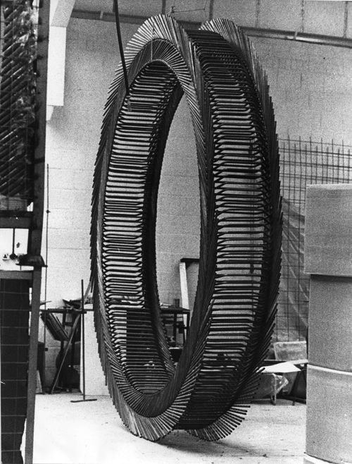 STUART BRISLEY, Hille Fellowship, 1970, Poly Wheel – Robin Day stacking chairs. 212 chairs circle.