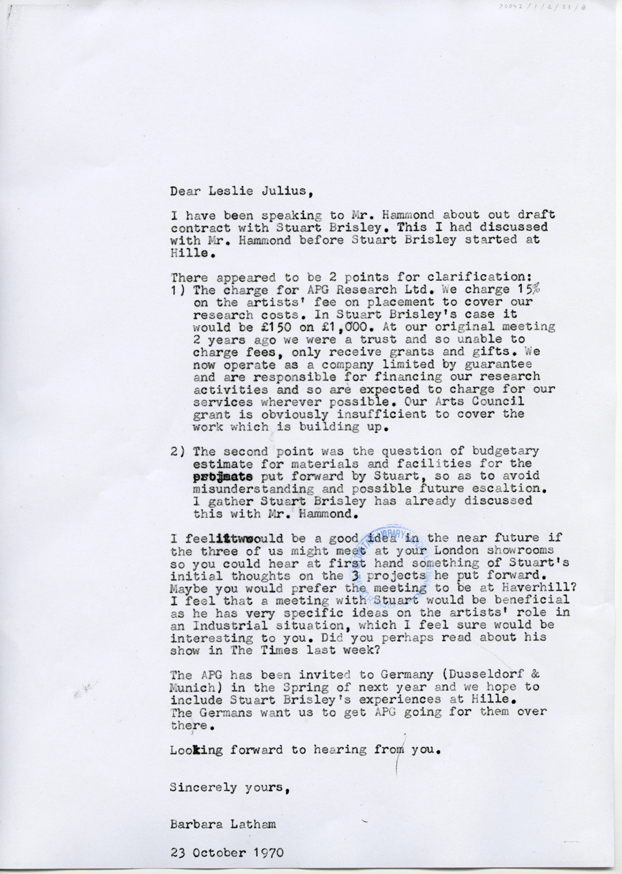 STUART BRISLEY, Letter between Barbara Latham and Leslie Julius regarding Hille Project, 1970